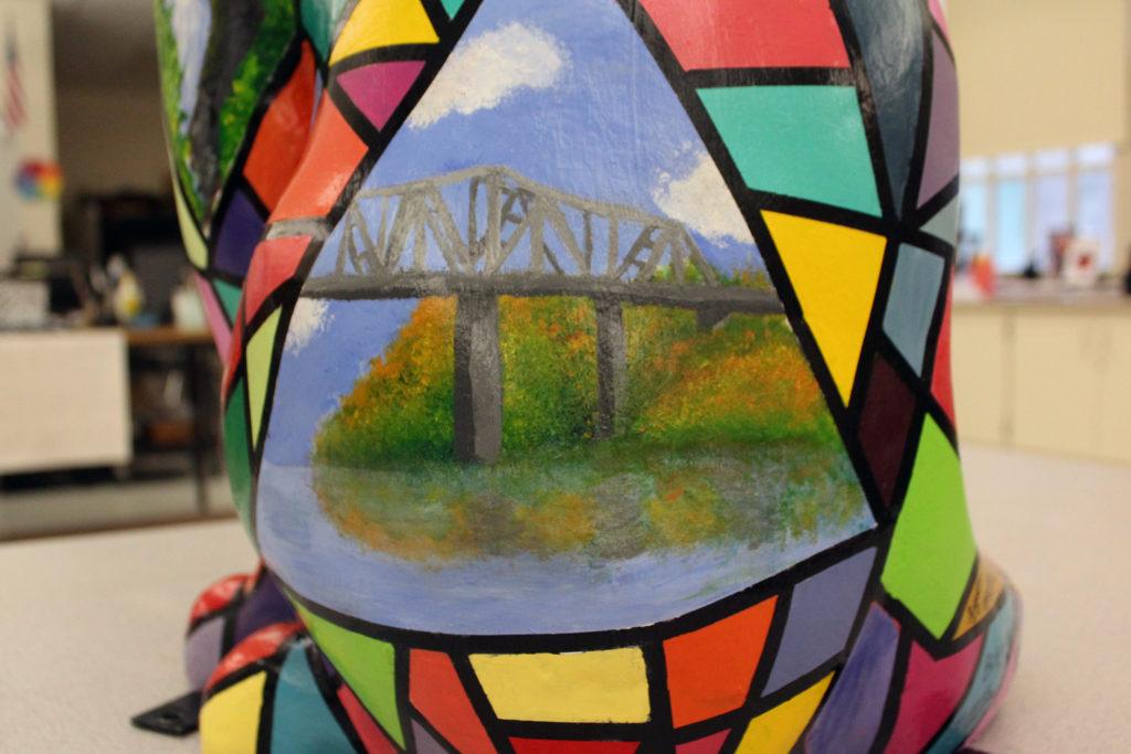 painted cat showig Rip Van Winkle Bridge Scene