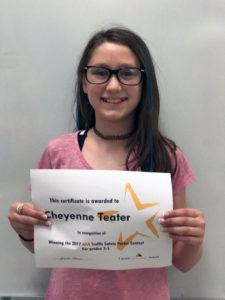 Cheyenne Teater with certificate