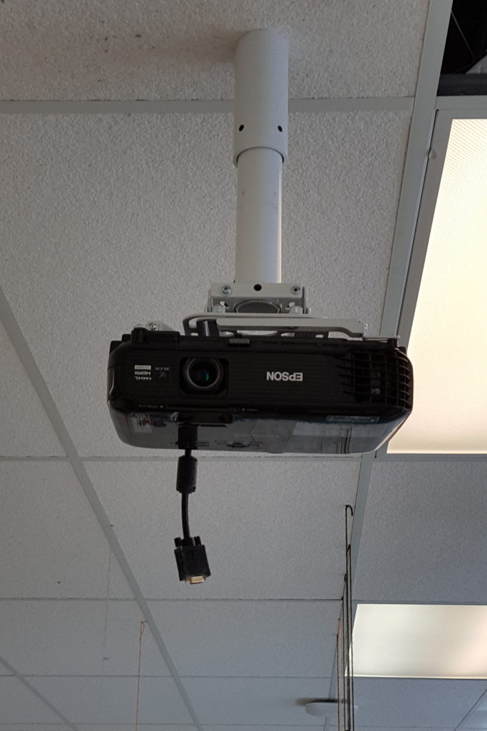 projector mounted to ceiling