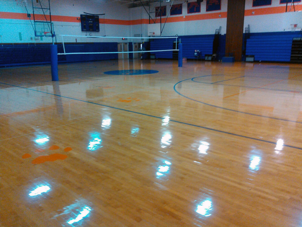 newly refinished gym floor