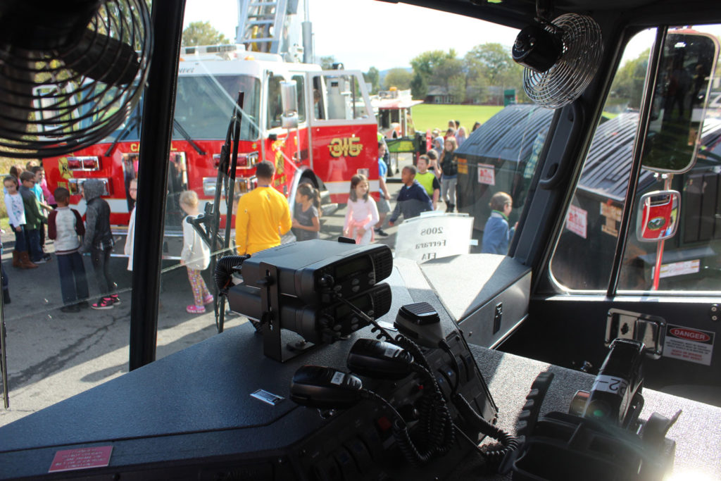 Students check out the ladder truck