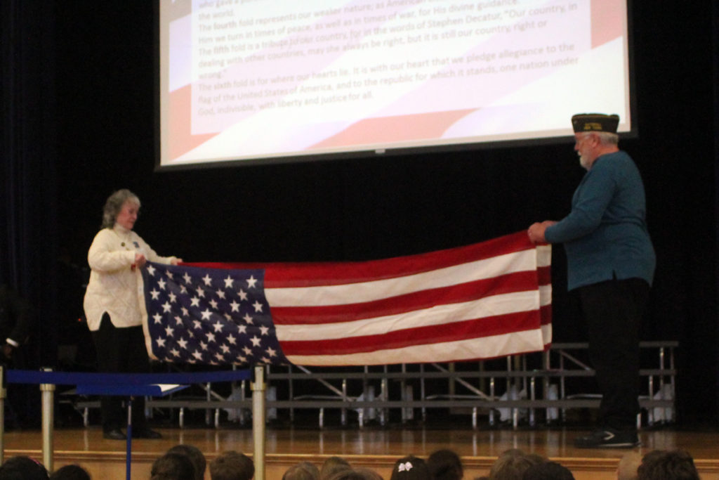 flag folding ceremony at CES