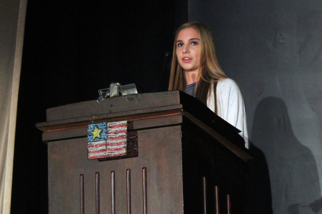 Megan Davies delivers her remarks