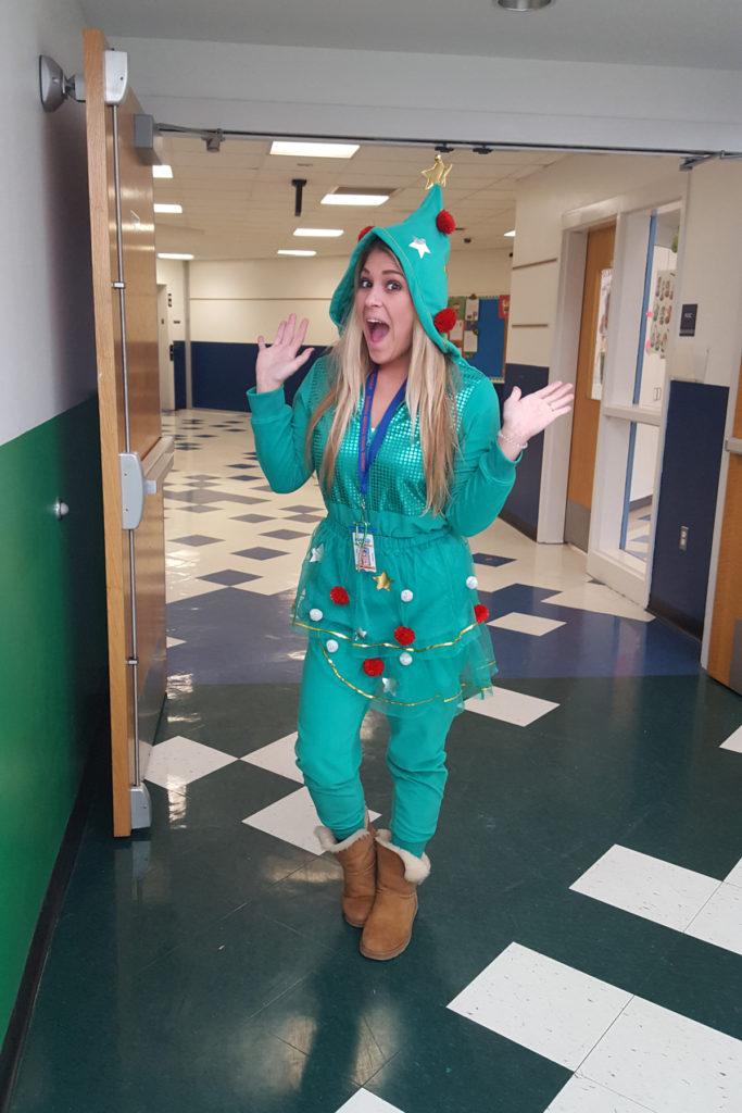 teacher dressed like elf