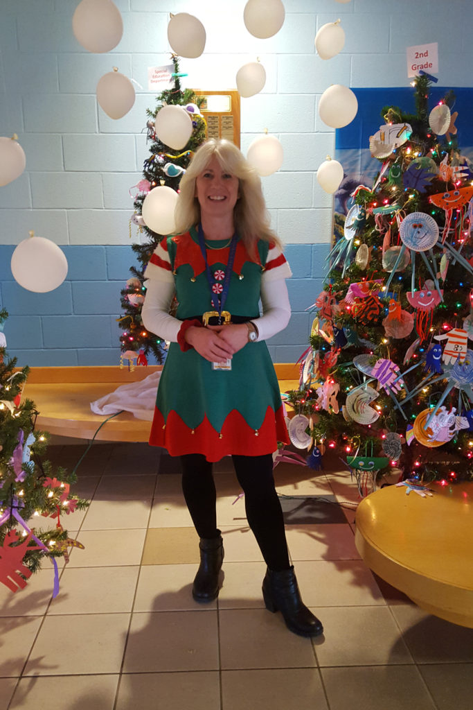 teacher in elf costume