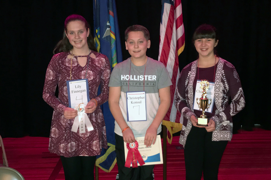 Catskill Middle School's Spelling Bee Champion, 7th grader Karsen Chiminelli, as well as second place finisher, 7th grader Christopher Konsul, and third place finisher, 8th grader Elizabeth Finnegan