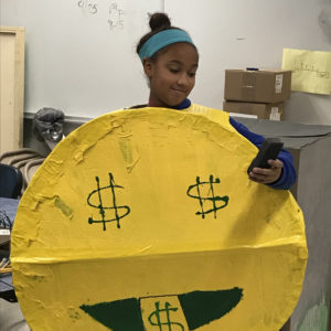 student dressed as emoji