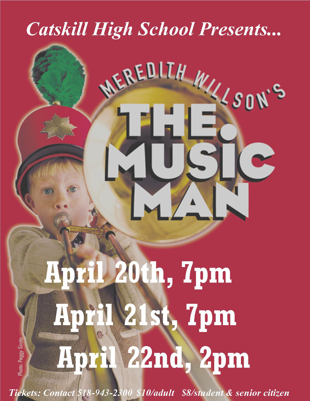 The Music Man Flyer showing boy with trombone