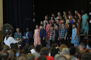chorus singing on stage