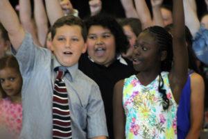 students cheer