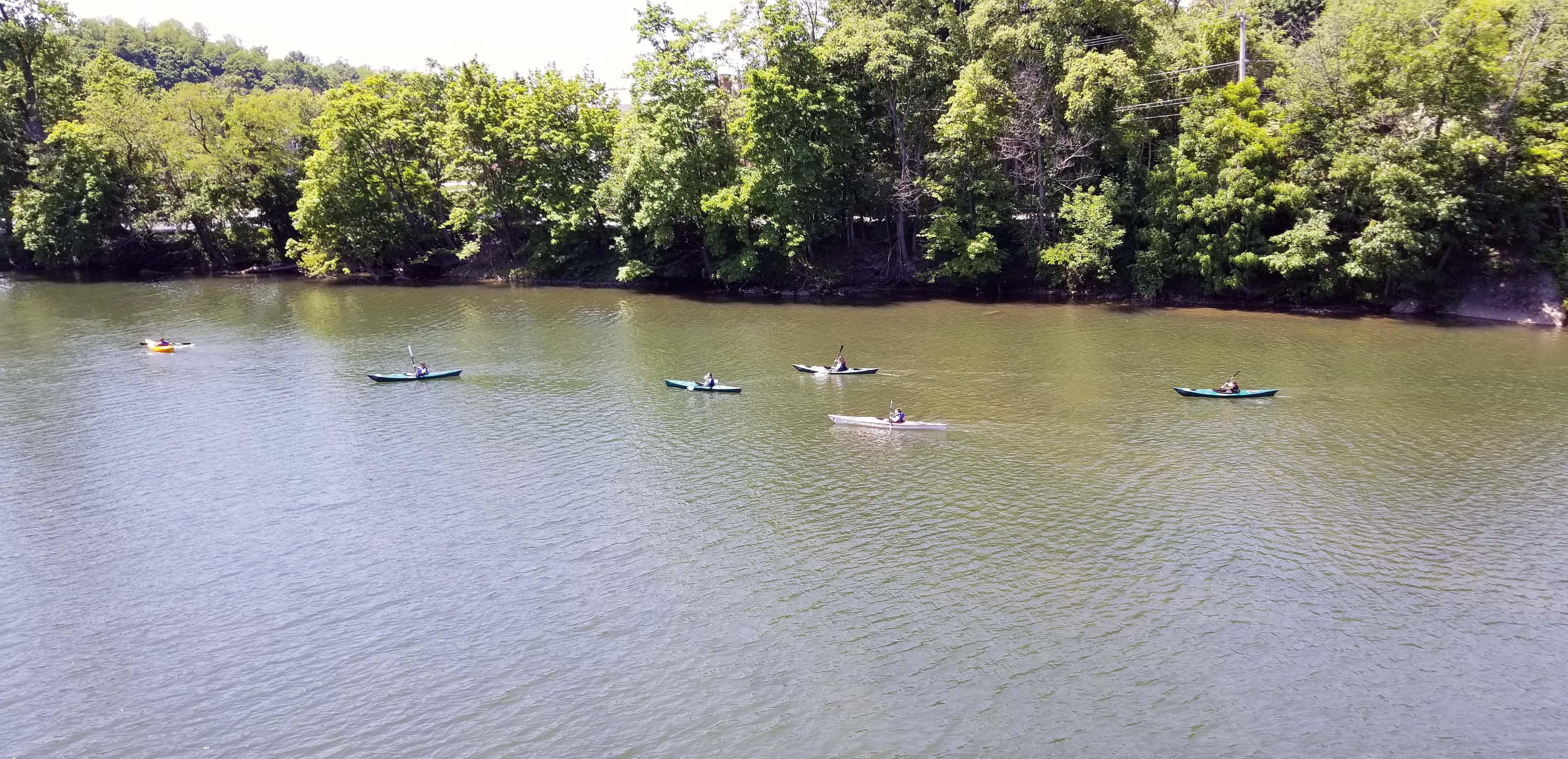 fifth grade students kayaking on the Catskill Creek