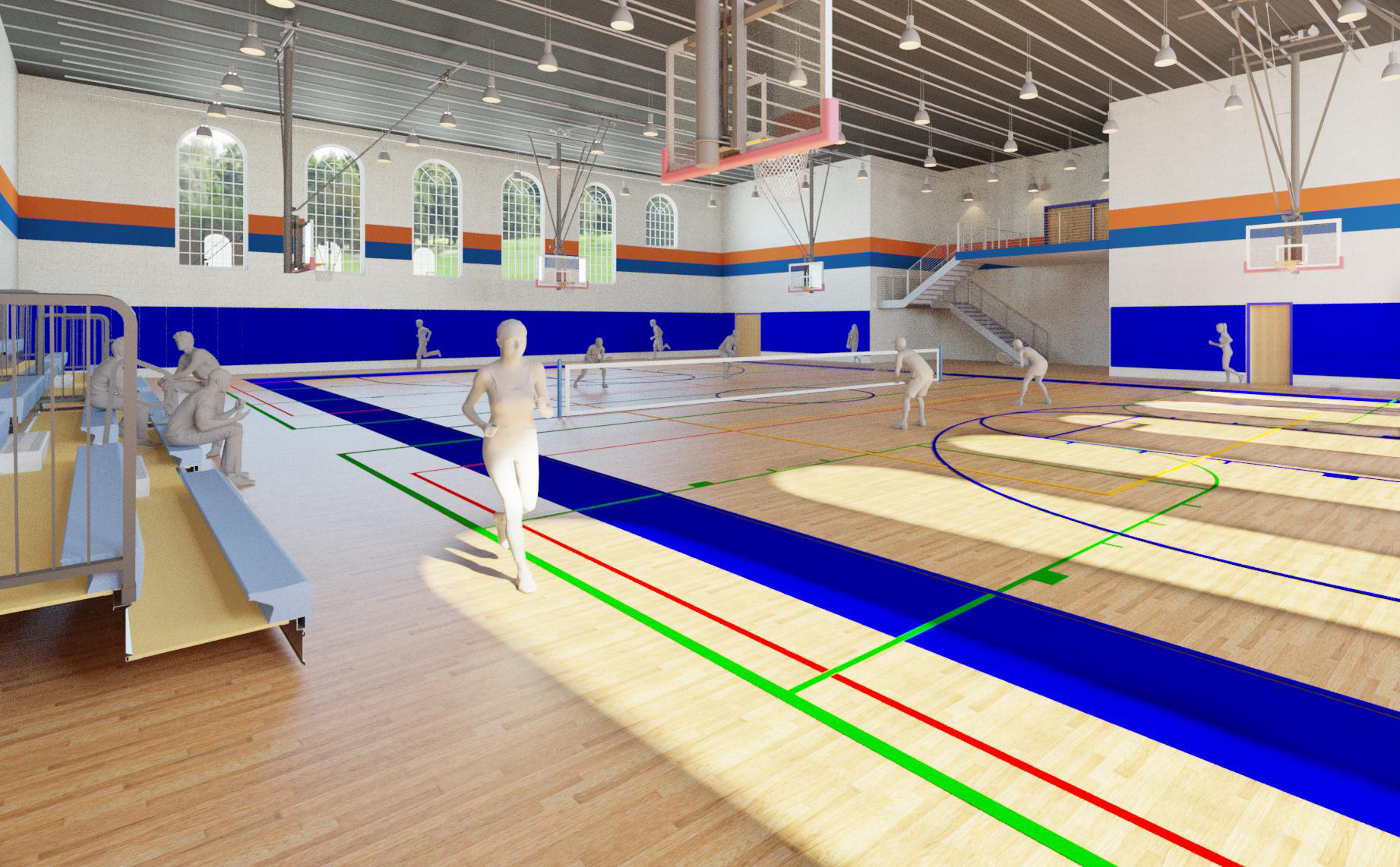 Conceptual image of interior of proposed Middle School Gym addition