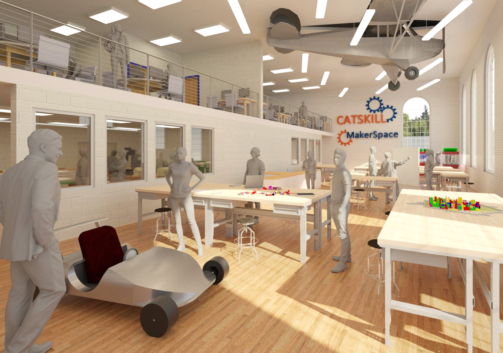 Conceptual image of Old Middle School Gym Renovated into STEM Lab