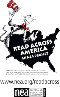Read Across America Logo showing The Cats in the Hat leaning on map of USA