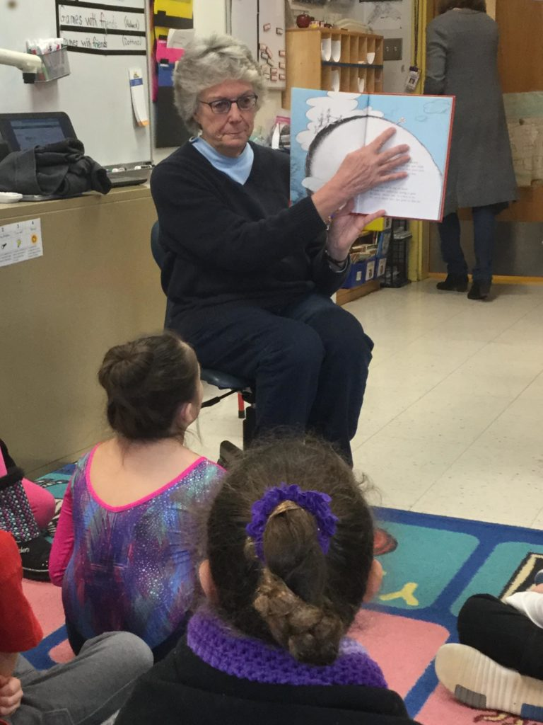 Deborah Johnson reads to class