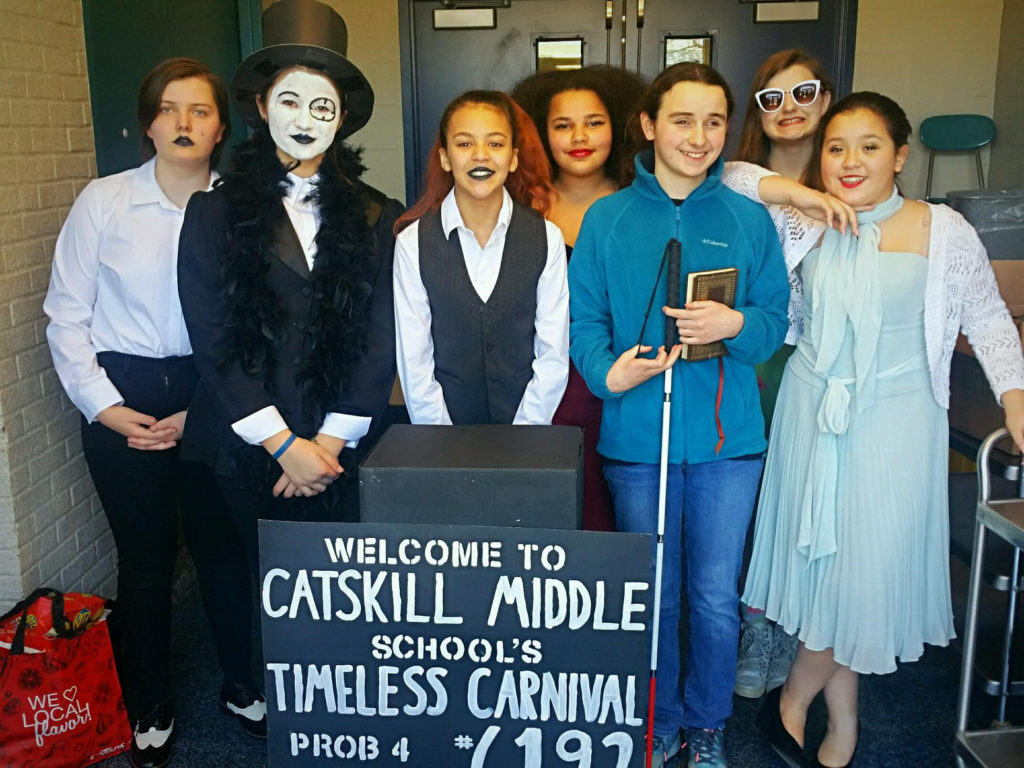 team dressed up as carnival characters