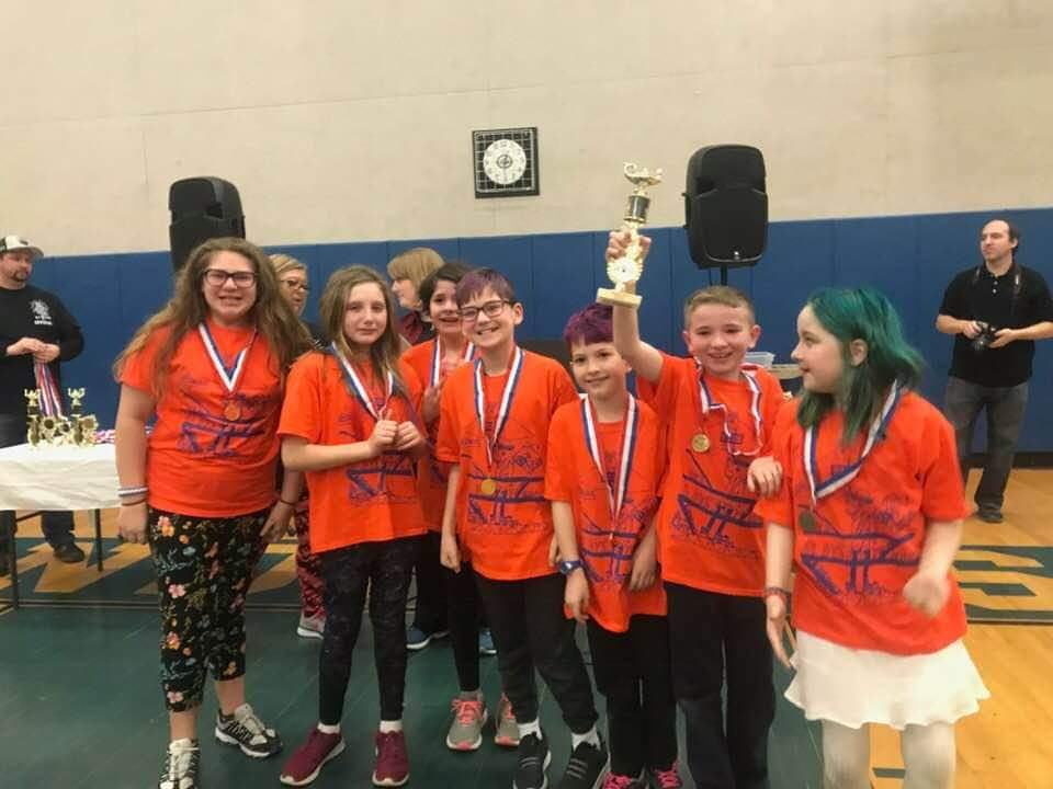 Catskill Elementary Odyssey of the Mind Team with 1st place trophy