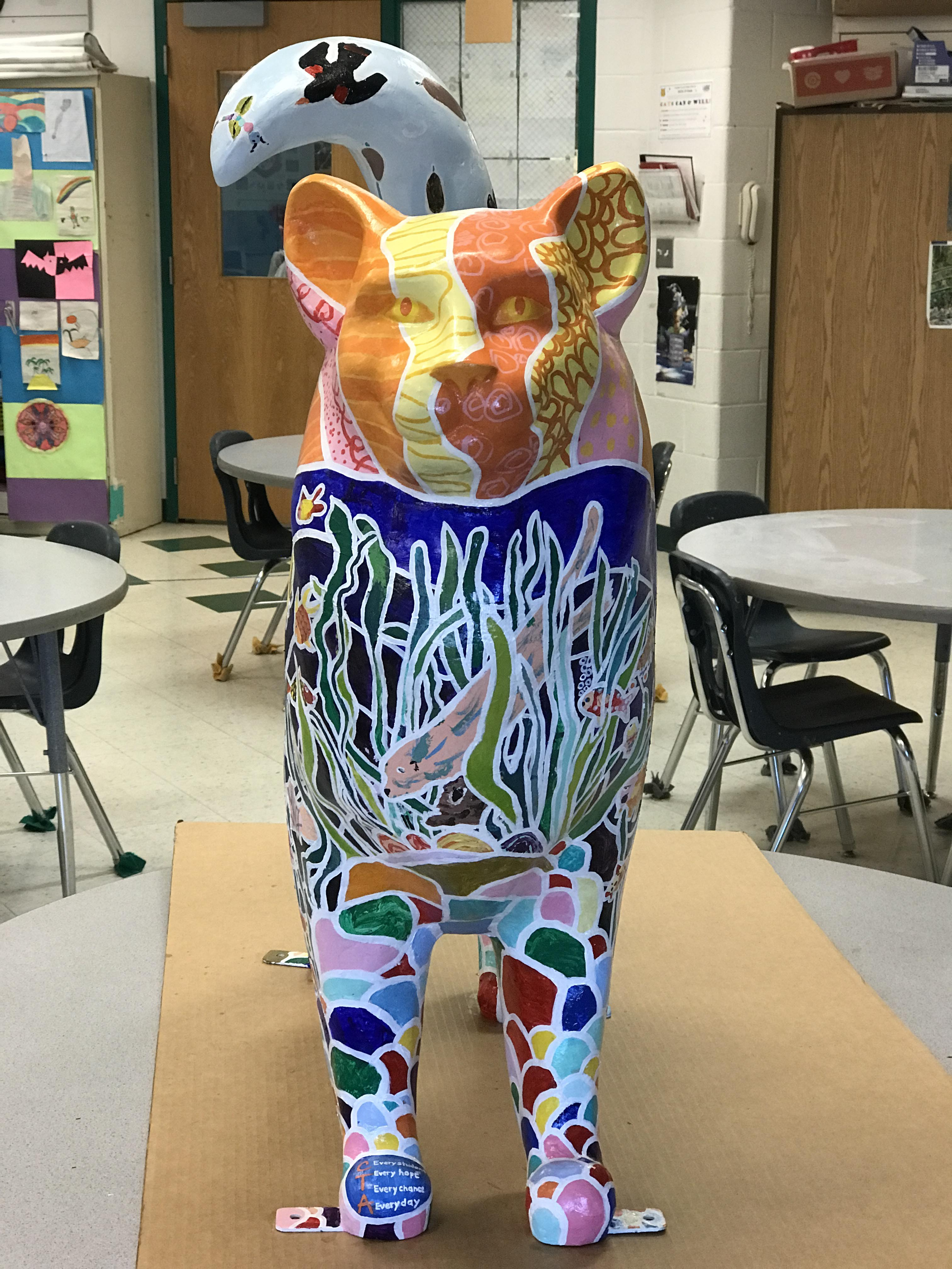front view of finished cat showing pond motif