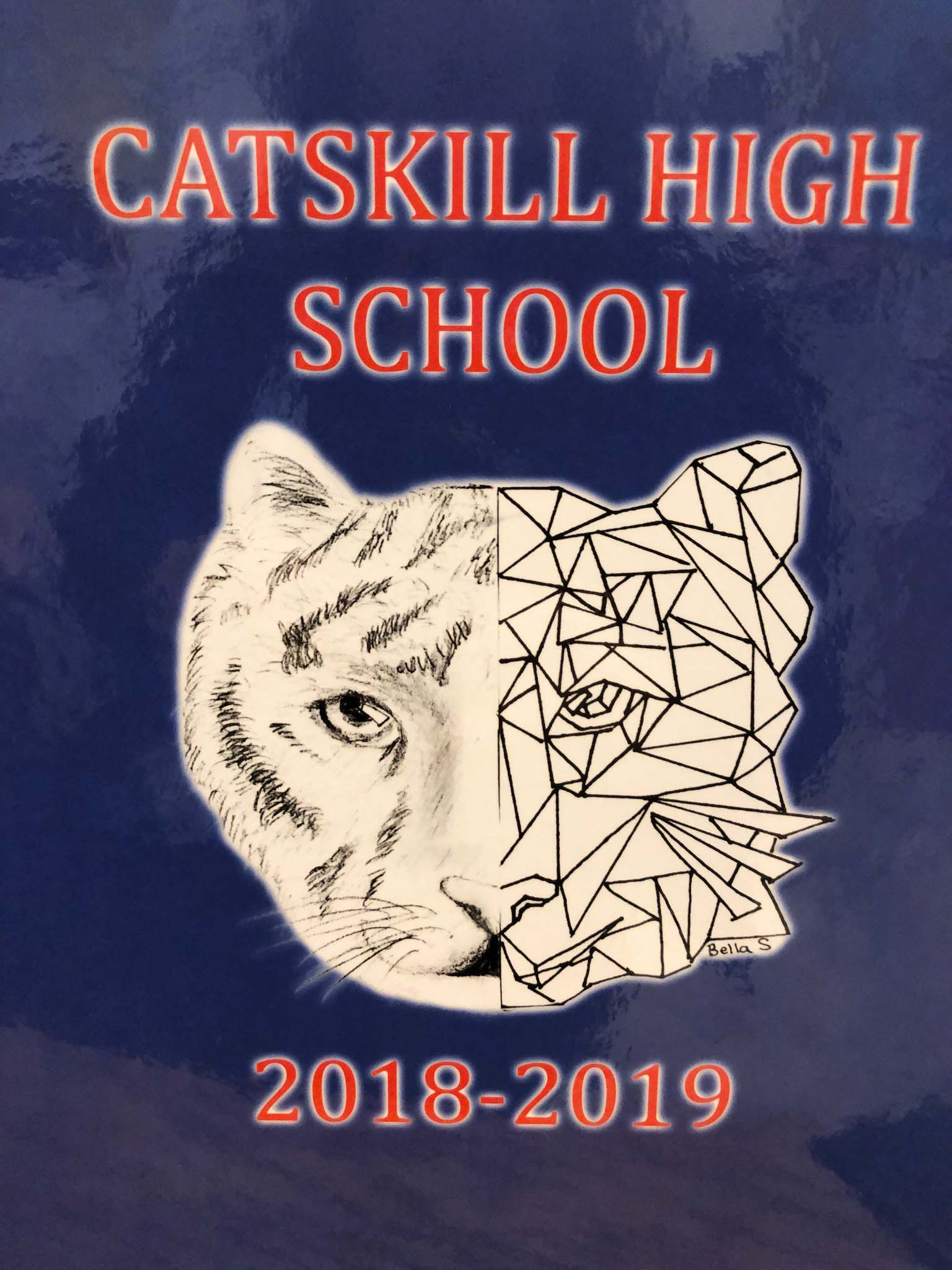 Catskill High School 2018-19 Yearbook cover with drawing of cat on it