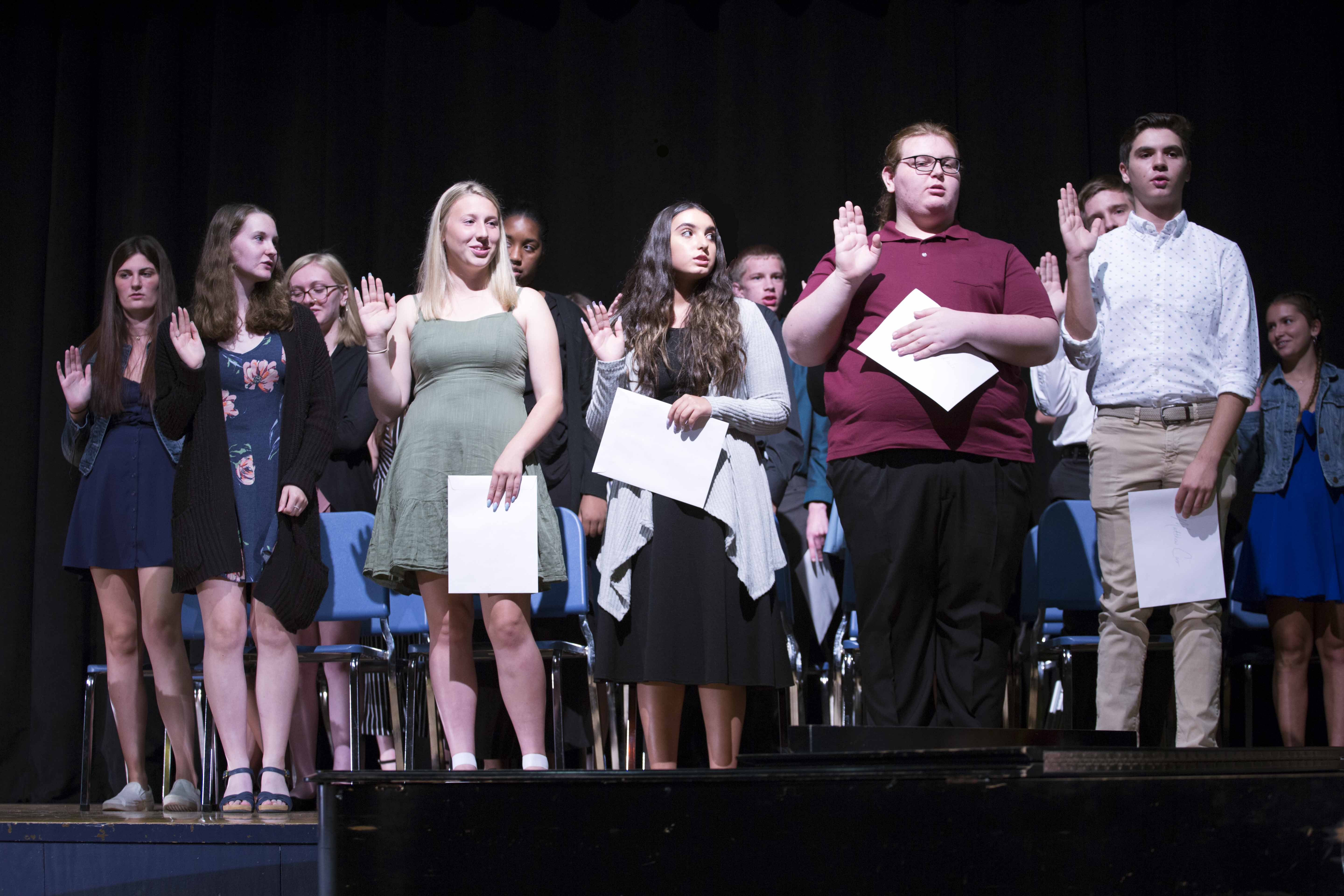 Catskill High School National Honor Society inductees on stage during the ceremony