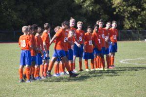 boys soccer team lined up on feild