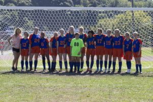 girls soccer team in front of goal