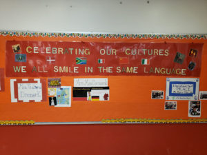 bulletin board with multi-cultural holiday theme
