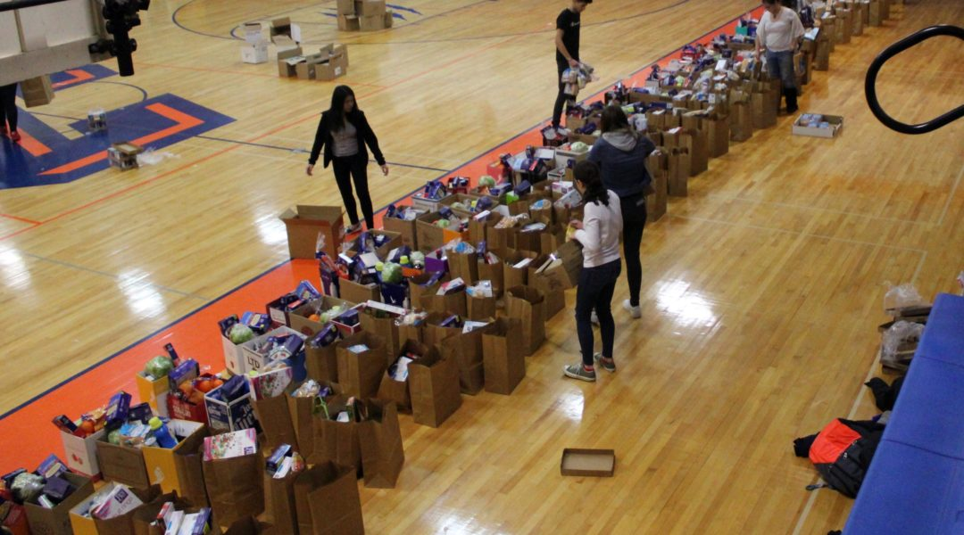students packing long line of grocery bags on gym floor