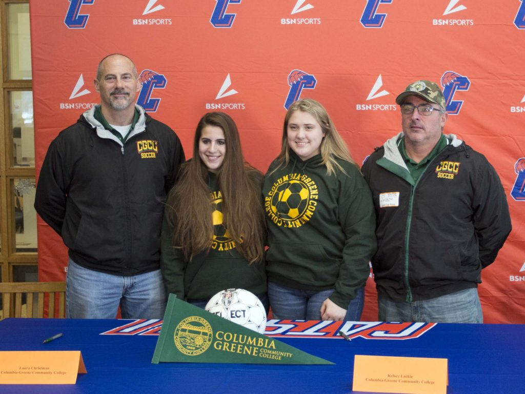 Laura Christman and Kelsey Lackie with C-GCC coaches