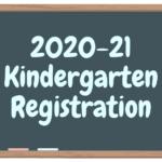 cartoon chalkboard that has 2020-21 Kindergarten registration written on it