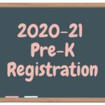 artoon chalkboard that has 2020-21 Pre-K registration written on it
