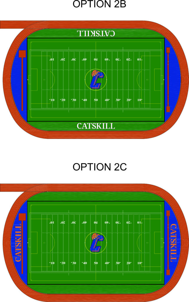 image showing field layout for option 2b with Catskill on the sidelnes, and option 2c with Catskill in the endzones