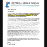 letter with Catskill Middle School letterhead