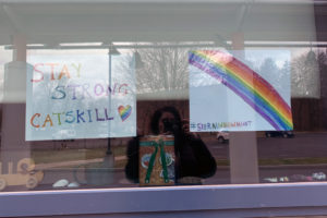 rainbow picture and sign saying Stay Strong Catskill