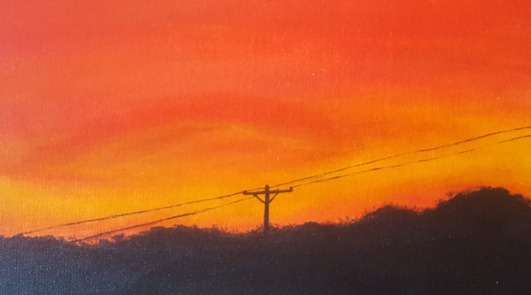 painting of sunset and telephone pole
