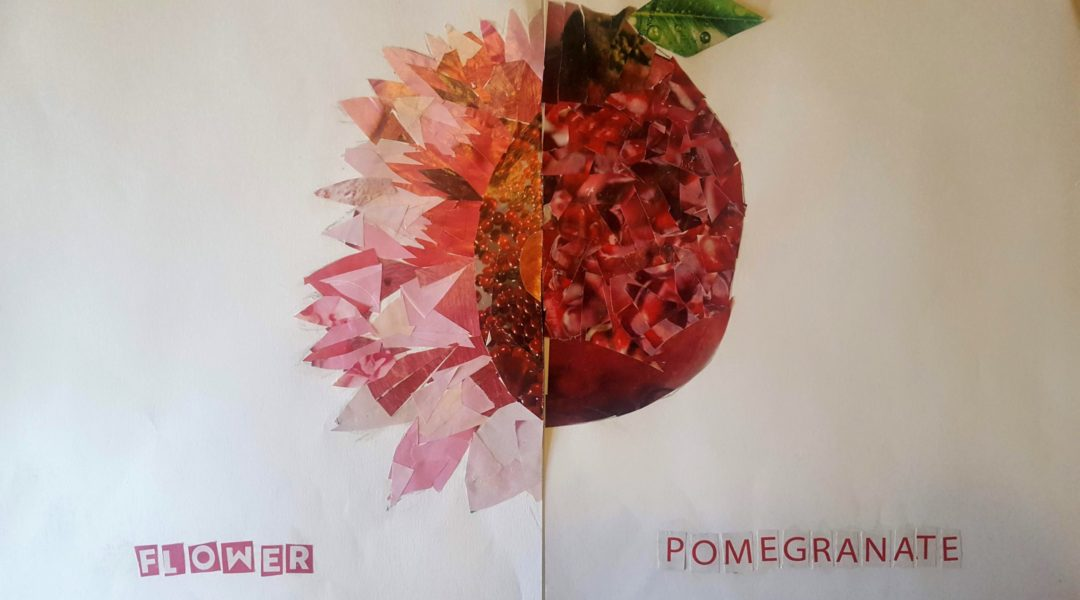 split painting of flower and pomegranate