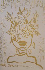print of flower hat on head