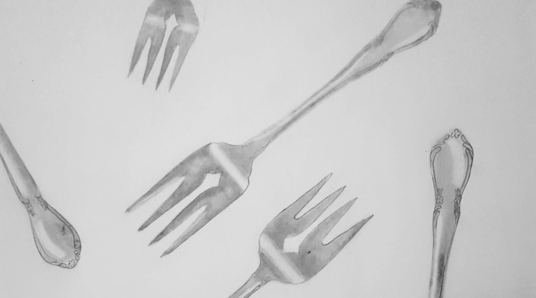pencil drawing of forks