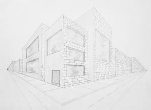 pencil drawing of corner of building