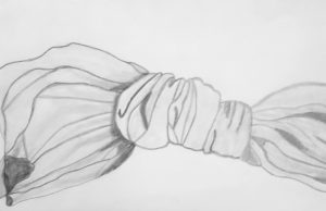 pencil drawing of fabric tied in a knot