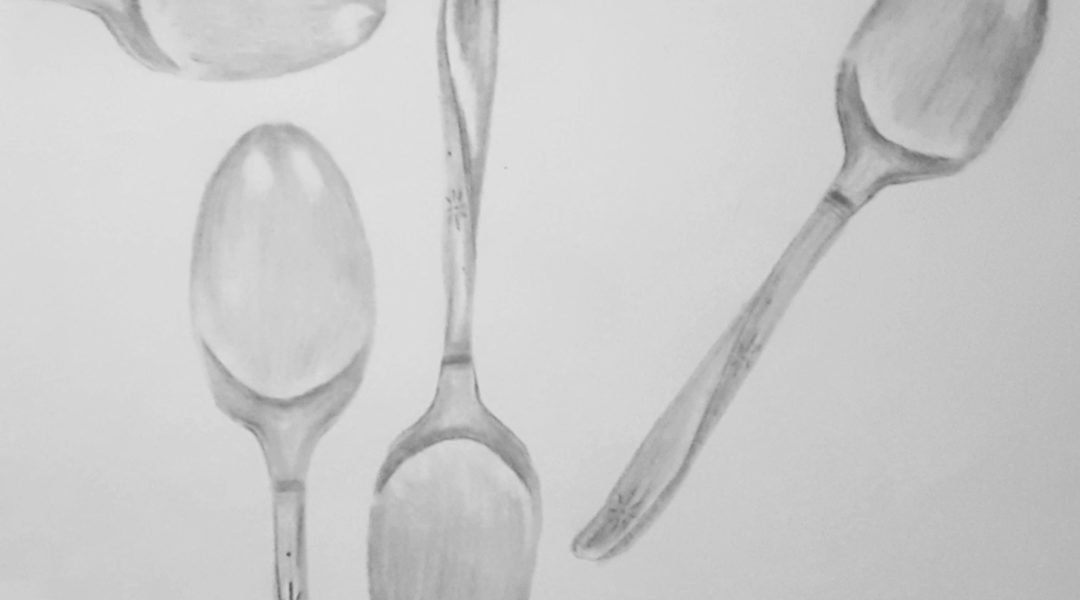 pencil drawing of spoons