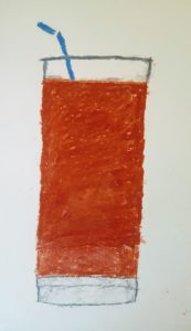 drawing of drink in glass with straw