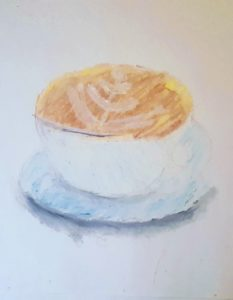 drawing of latte in cup