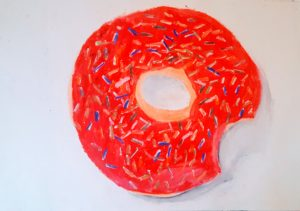 drawing of frosted donut with sprinkles