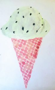 drawing of mint chocolate chip icecream cone