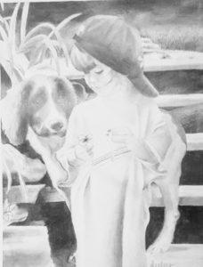 pencil daring of dog and boy