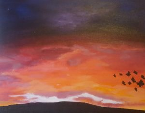 painting of sunset with flock of birds