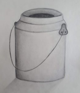 pencil drwing of milk pail