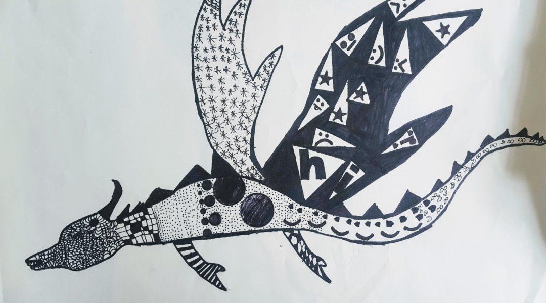 pencil drawing of dragon