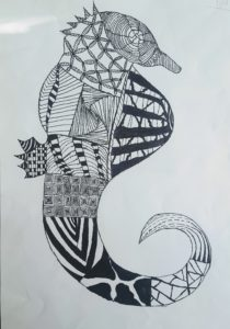 drawing of seahorse